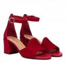 Босоножки женские замшевые красные на толстом каблуке Visconi