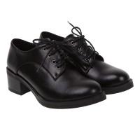 Туфли женские  черные на низком толстом каблуке Vensi