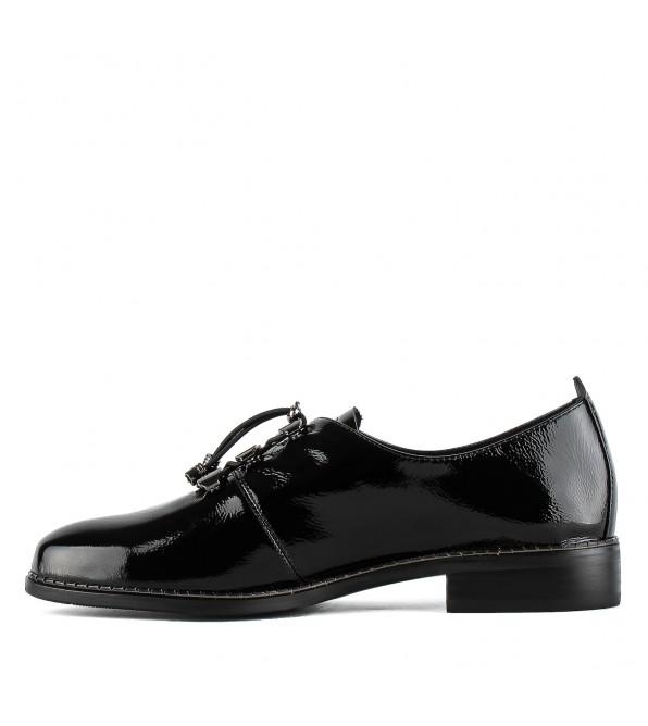 Туфлі жіночі лакові шкіряні чорні на низькому каблуку