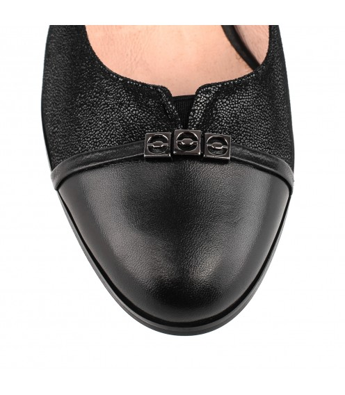 Туфлі жіночі шкіряні чорні на стійкому каблуку Bellavista