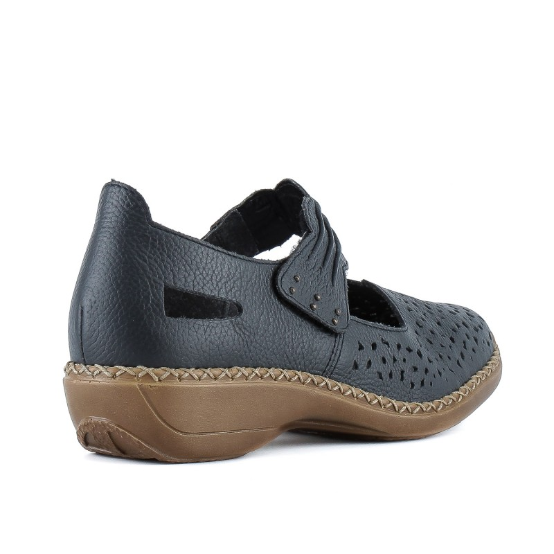 Туфлі жіночі шкіряні сині зручні на низькому ходу
