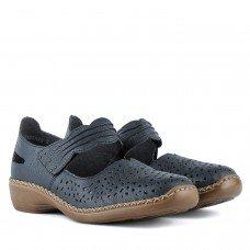 Туфли женские кожаные синие удобные на низком ходу