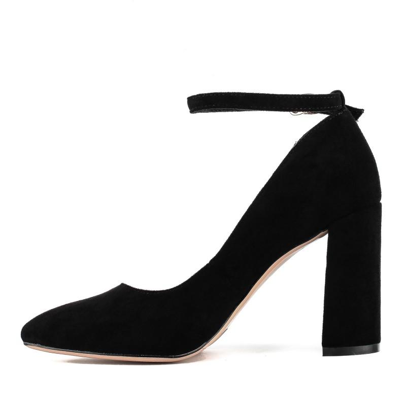 Туфлі жіночі замшеві чорні на високому каблуку