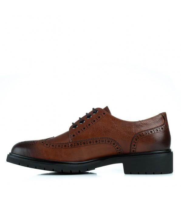 Туфлі жіночі шкіряні коричневі на товстому каблуку