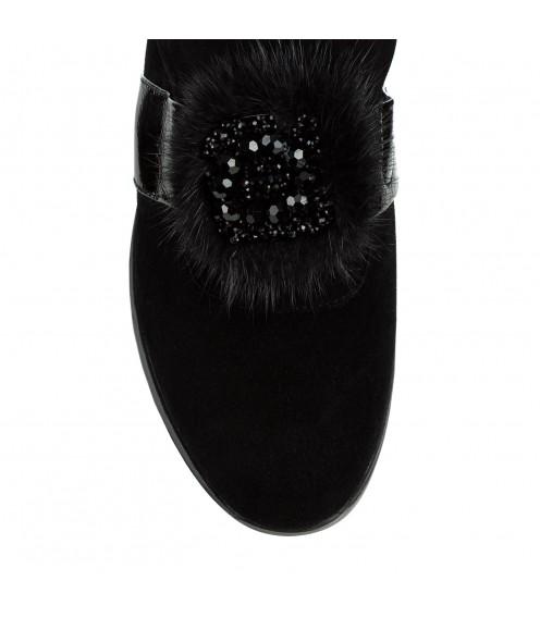 Туфлі жіночі замшеві чорні на платформі  Brocoli