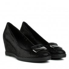 Туфлі жіночі замшеві чорні на танкетці Sufinna