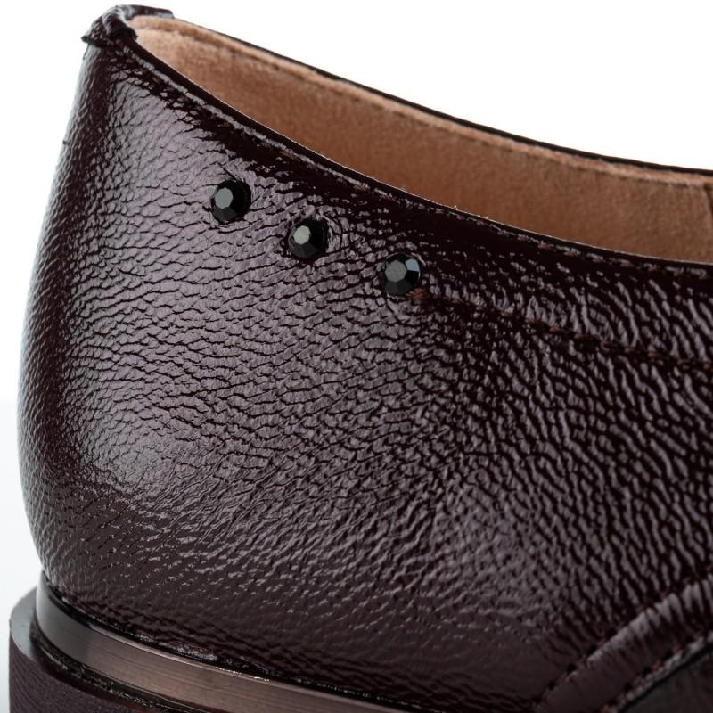 Туфлі жіночі шкіряні бордові на низькому ходу Geronea