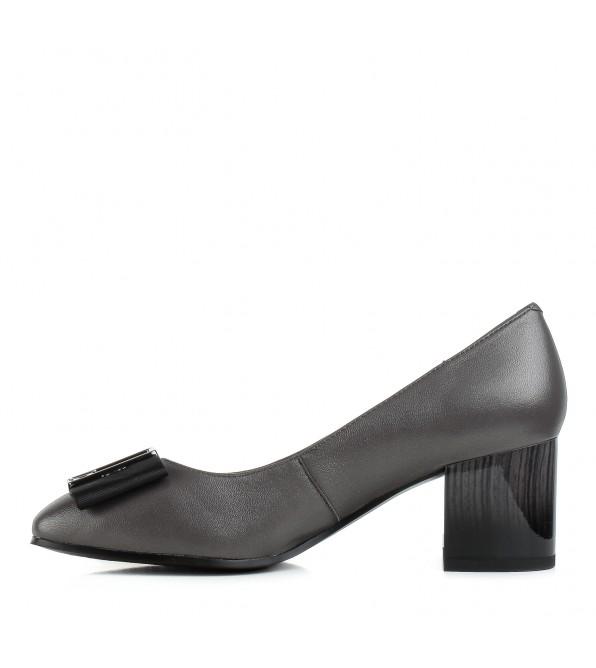 Туфлі жіночі шкіряні сірі на стійкому каблуку