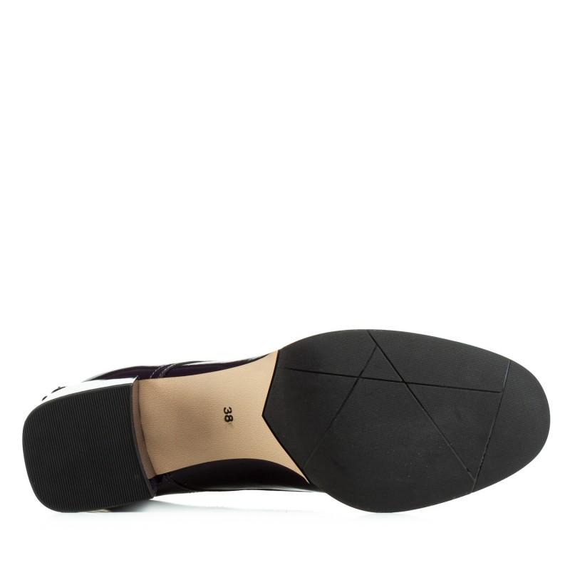 Туфлі жіночі шкіряні лакові фіолетові на зручному каблуку