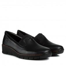 Туфли женские кожаные черные на танкетке Rieker