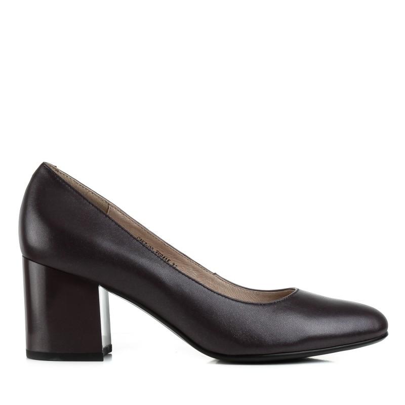 Туфлі жіночі шкіряні сливові на стійкому каблуку