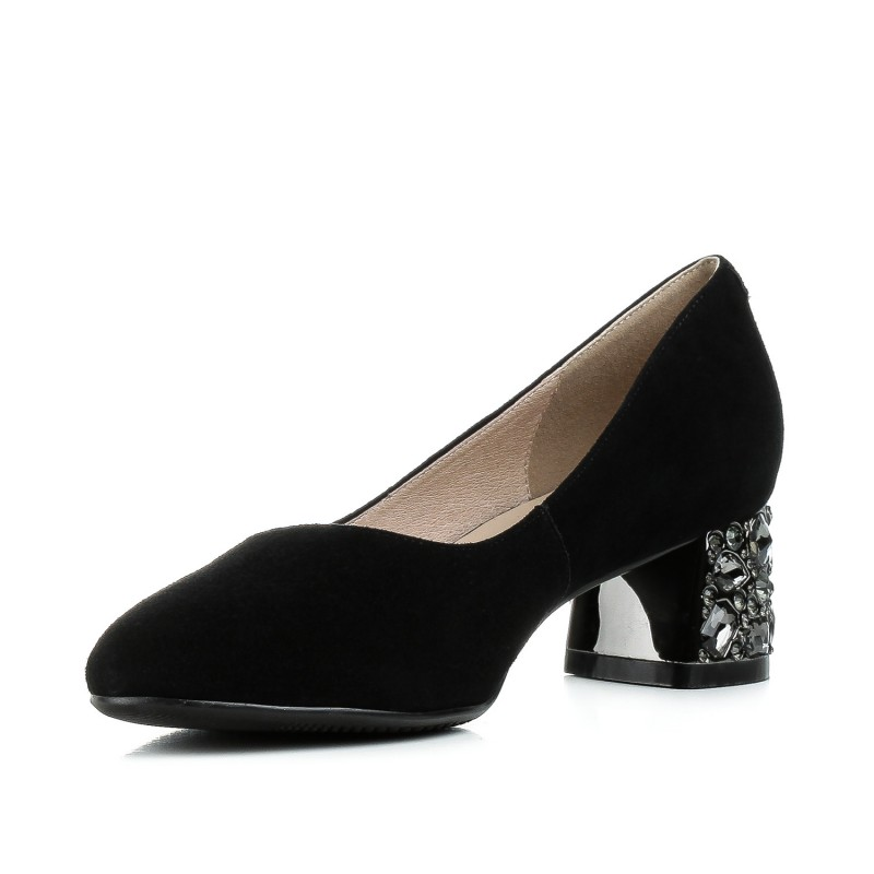 Туфлі жіночі замшеві чорні на зручному каблуку