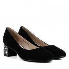 Туфли женские замшевые черные на удобном каблуке