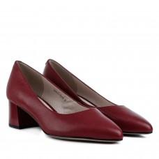 Туфли женские кожаные красные на устойчивом каблуке