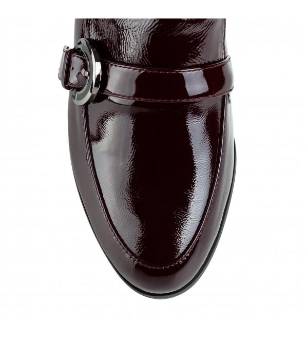 Туфлі жіночі шкіряні лакові бордові на товстому каблуку