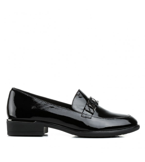 Туфлі жіночі шкіряні лакові  на товстому каблуку