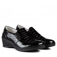 Туфли женские лаковые кожаные черные на удобной танкетке