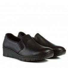 Туфли женские кожаные черные на удобной танкетке