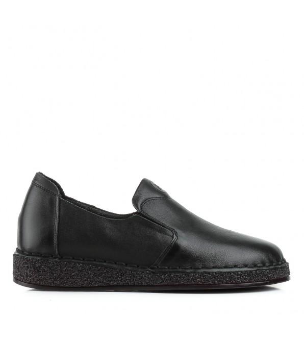 Туфлі жіночі шкіряні чорні на низькому ходу