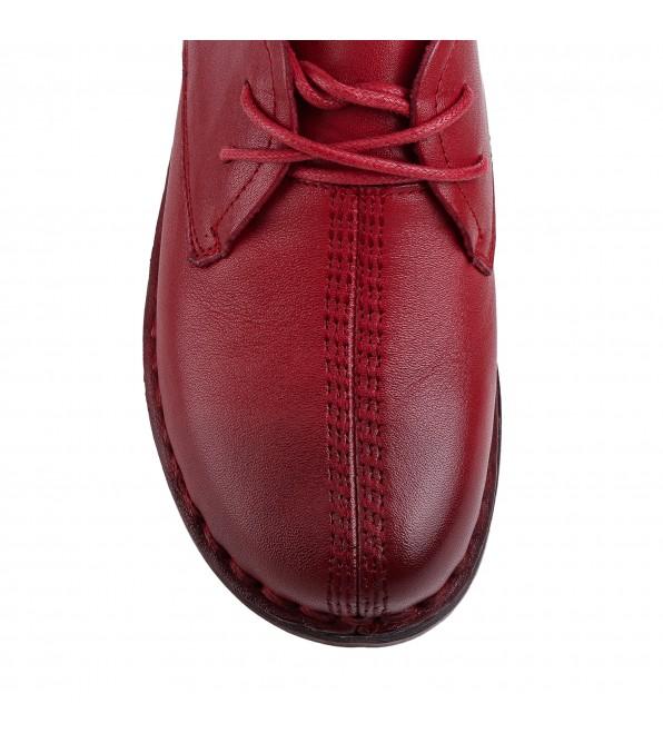 Туфлі жіночі шкіряні червоні на низькому ходу