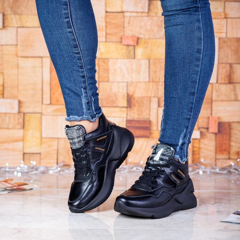 Кросівки жіночі чорні на танкетці Gifanni