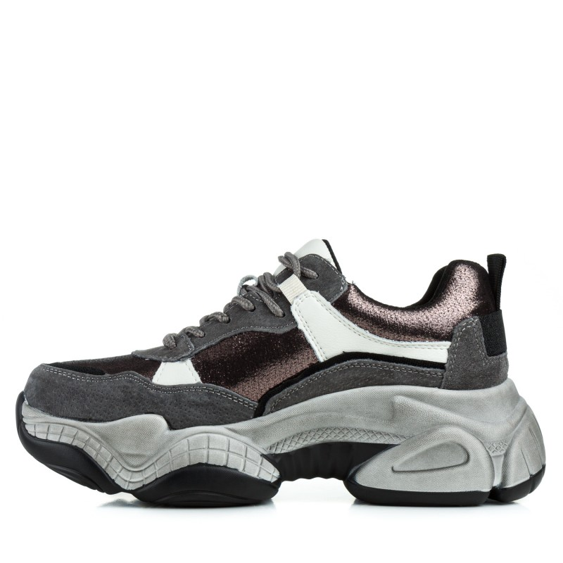 Кросівки жіночі сірі на зручній платформі Lifexpert