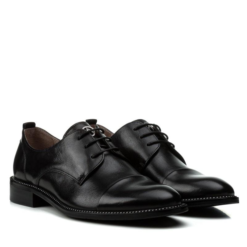 Туфлі жіночі шкіряні чорні на зручному каблуку