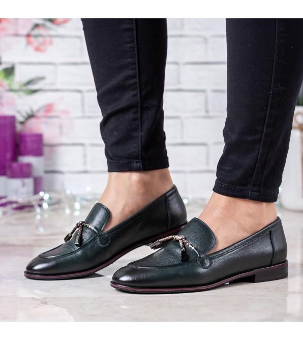 Туфлі жіночі шкіряні зелені на низькому каблуку