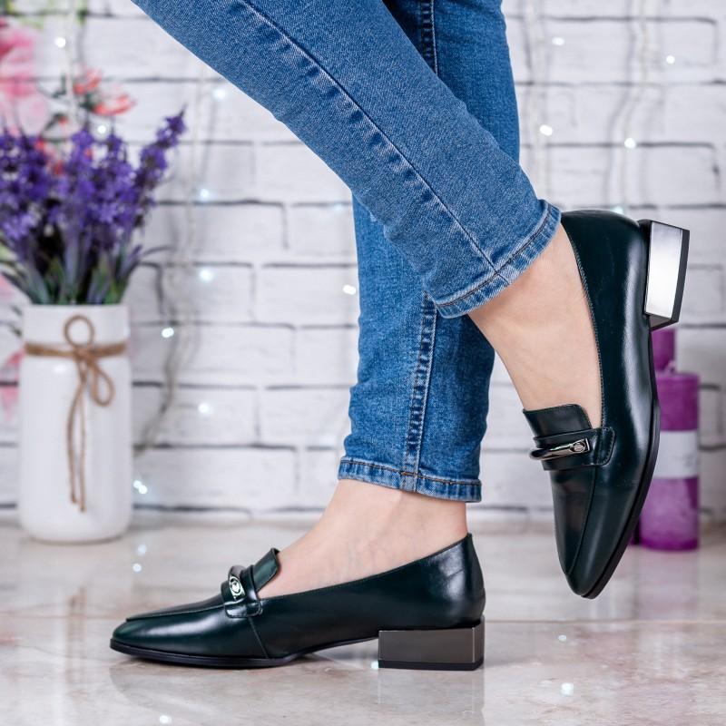 Туфлі жіночі шкіряні зелені  на зручному каблуку