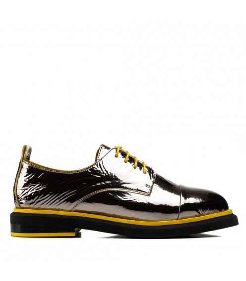 Туфлі жіночі шкіряні лакові бронзові на низькому каблуку