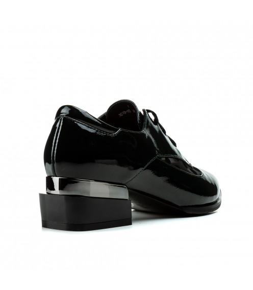 Туфлі жіночі шкіряні лакові зенені на стійкому каблуку