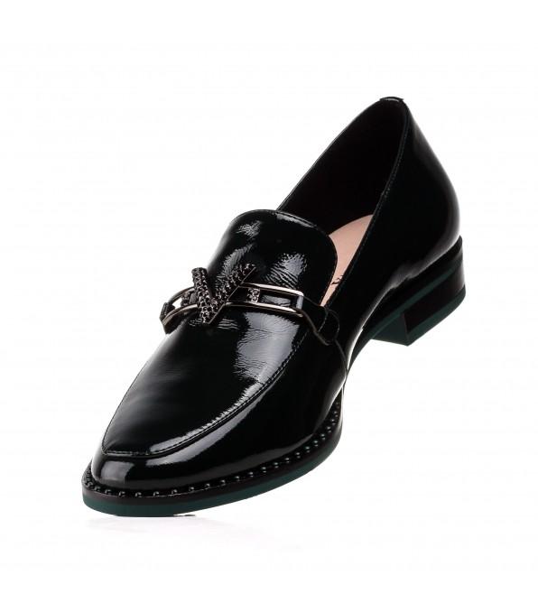 Туфлі жіночі шкіряні зелені лаковані на низькому ходу Sufinna
