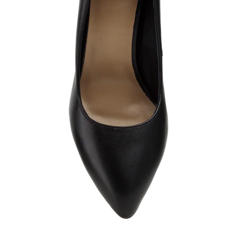 Туфлі жіночі шкіряні чорні на високому трикутному сірому каблуку Sufinna