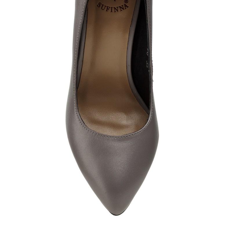 Туфлі жіночі шкіряні на високому каблуку з гострим носиком сірі Sufinna