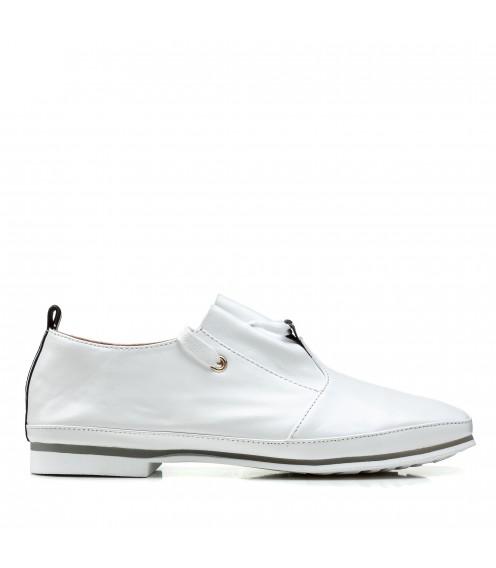 Туфлі жіночі шкіряні білі на низькому ходу Suffina