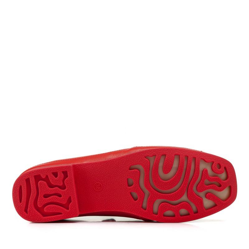 Туфлі жіночі шкіряні червоні на низькому каблуці Suffina