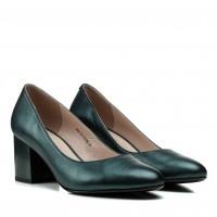 Туфли женские кожаные зеленые  на толстом каблуке