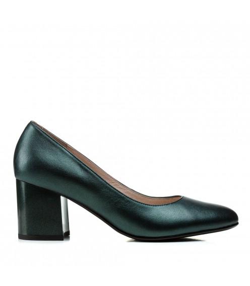 Туфлі жіночі шкіряні зелені на товстому каблуку