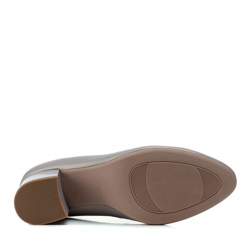 Туфлі лодочки жіночі шкіряні сірі на товстому каблуці