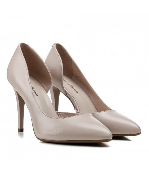 Туфлі лодочки жіночі шкіряні бежеві на шпильці Lady Marcia
