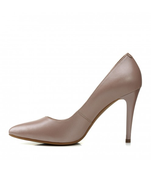 Туфлі човники жіночі шкіряні капучино на шпильці