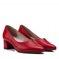 Туфли женские кожаные красные на удобном каблуке Lady Marcia