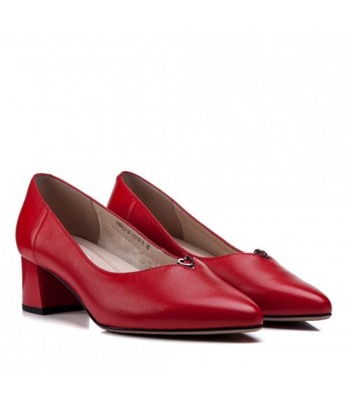 Туфлі жіночі шкіряні червоні на зручному каблуку Lady Marcia