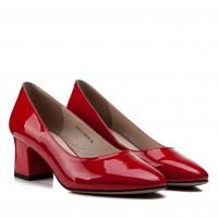 Туфли женские кожаные лаковые красные на удобном каблуке