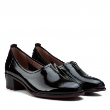 Туфли женские кожаные лаковые черные на удобном каблуке