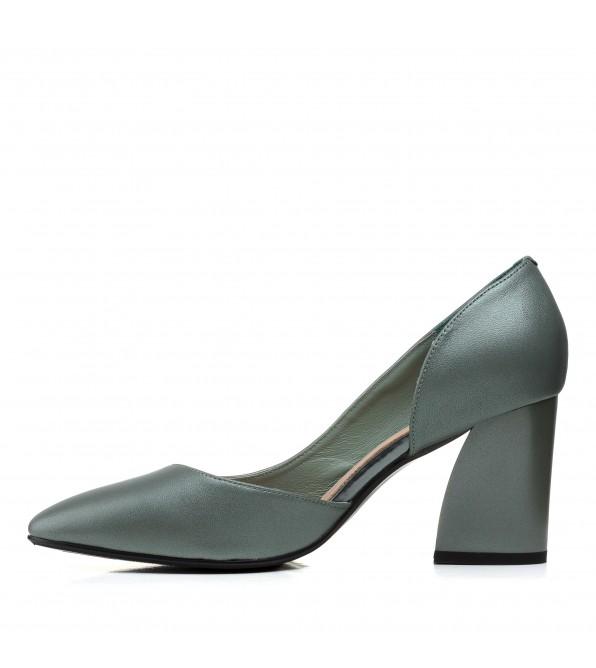 Туфлі шкіряні на грубому каблуку  зелені Polann