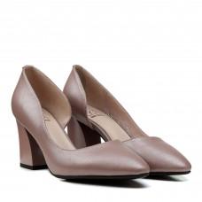 Туфли женские лодочки кожаные на толстом каблуке Polann