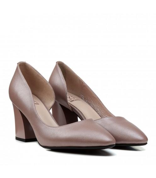 Туфлі жіночі лодочки шкіряні на товстому каблуці Polann