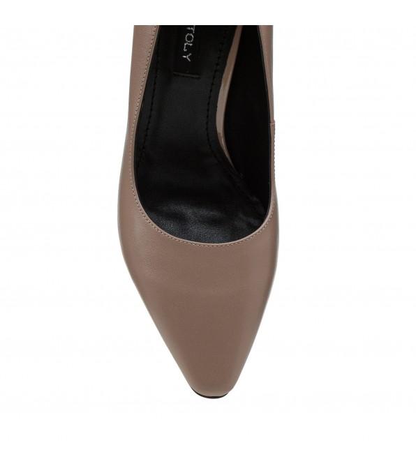 Туфлі жіночі шкіряні капучино на зручному каблуку Dovetoly