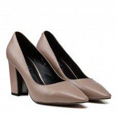Туфли женские кожаные капучино на удобном каблуке Dovetoly